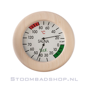 Thermo/Hygrometer Sauna rond hout 13 cm